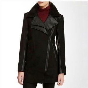 Sam Edelman | Asymmetrical Moto Wool Leather Coat
